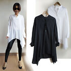 Flowing Chic relaxed asymmetrical swing long button down blouse - b64