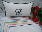 MONOGRAM WHITE DECORATIVE IN / OUTDOOR LUMBAR / RECTANGLE PILLOW - CHOOSE COLOR