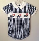 NEW Smocked American Flag Truck Boy Bubble Size 3-6, 12-18, 18-24 Months