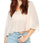 Fashion Women's Sexy Backless See Through Loose Tops 3/4 Sleeve Chiffon Blouse