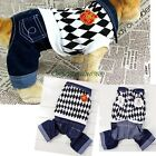 Warm Pet Dog Cat Black White Plaid Jean Clothes Hoodie Jumpsuit Trousers Apparel