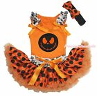 Halloween Skeleton Jack Orange Top Black Dot Pettiskirt Baby Girl Costume NB-8Y