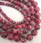 "Jade round rain flower pink / grey beads. 15.5"" strand. Choose size 6-12mm SP38"