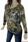 T-PARTY Black Brown Beige Tie Dye Vintage Tie Long Doleman Sleeve New Knit Top