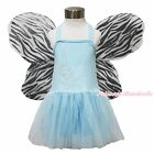 Halloween Party Rhinestone Periwinkle Blue Halter Gauze Dress Wing Costume 1-7Y