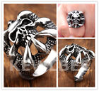 1pc Punk Biker Claw Skull Head Stainless Steel Men's Finger Ring Fashion Jewelry