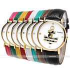 1pc Golden Case Anchor Print Quartz Analog Wristband Watch Womens Fashion Jewel