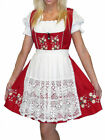DIRNDL German Dress Oktoberfest EMBROIDERY Red SHORT Waitress Swing Garden Dress