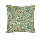 "William Morris willow bough green filled cushion 18"" square complete with pad"