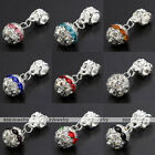 5x Silvery Crystal Flower Ball European Charms Loose Beads For Snake Bracelet
