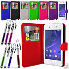 FLIP WALLET STAND LEATHER CASE COVER For Sony Xperia E3