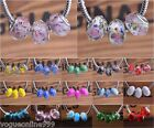 10pc Rondelle Faceted European Charms Murano Glass Loose Big Hole Beads 35Colors