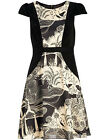 MONSOON NEW CLEARWATER BLACK CREAM PRINT VINTAGE STYLE TEA DRESS RRP £60 SZ 8-18