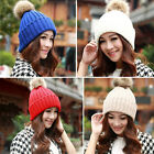 Womens Fashion Knitting Winter Warm Knit Hat Caps Beanie Hat With Fur Ball Gifts