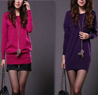 2013 Women's Loose Knit Ribbed Round Neck Long Sweater Jumper Dress Warm Tops AB