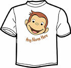 Curious George Face  PERSONALISED  WHITE T SHIRT AGES 1 to 8