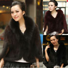 Bearty Knitted Mink Fur Shawl/Wrap/Cape with Fox Trimming in stock Women New