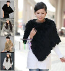 Good Women Real Farm Rabbit Fur Wrap Shawl Scarf Cape Poncho Scarf Outwear Vest