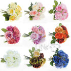 9 Head Silk Roses Bridal Artificial Bouquet Posy Wedding Party Bulk Flower Home