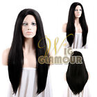 "18""-28"" Long Straight Blonde Black Drag Queen Basic Lace Front Wig Large Size"