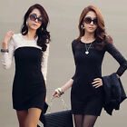 Korean Style Womens Winter Spring Long Sleeve Lace Dress Slim Casual Mini Dress