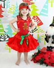 XMAS Gingerbread Red Top Shirt Red Pettiskirt Baby Girl Outfit Costume Set 1-8Y