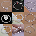 NEW Fashion 925 Sterling Silver Women's Charm Hand Chain Bracelet Bangle Gift