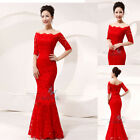 Red Lace Long Fomal Wedding Dresses Bridal Dress Party Prom Evening Dresses 6-16