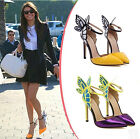 Womens Sweet Butterfly Pointy Toe Ankle Strap High Heel Pumps Shoes Stiletto