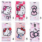 Lovely HelloKitty Cartoon Leather Wallet Case Cove For Samsung Galaxy S4 & S5