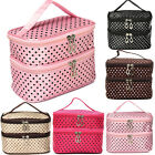 Beauty Case Valigetta Borsa Polka Dot Scatola da Viaggio Trucco Make Up Bag