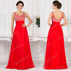2015 Beaded Formal Long Prom Wedding Bridesmaid Ball Gown Cocktail Evening Dress