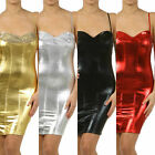 S M L Shiny Metallic Dress Liquid Corset Sequin Bra Bodycon Silver Red Blk Gold