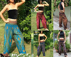 LADIES HAREM PANTS- BAGGY SMOCKED - LEGGINGS - THAI BEACH CHIC-PEACOCK- COLOURS