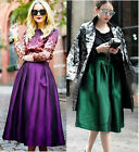 Women High Waist A-line Ball Gown Midi Pleated Skater Swing Skirt Quantity New