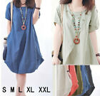 Womens pleated Dress Pocket mini party casual Dress Summer  Short Sleeve New