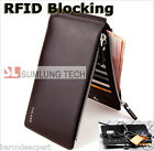 RFID Blocker Ultra Thin Mens Wallet Purse Card Coin Holder Organizer, 2 zippers