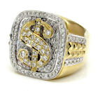 1.56ct Mens 14k White Yellow Real Gold Diamond Big Dollar $ Sign Money Ring