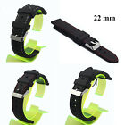 Men 22mm Watch Strap Watchband Silicone Rubber Diving Stainless Steel Buckle NEW