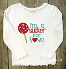 Girl Infant Toddler Valentines Girl Sucker for Love Embroidered LS Shirt