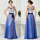 Satin Long Blue Flower Masquerade Ball Gown Evening Prom Bridesmaid Party Dress