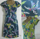 NEW EX WHITE STUFF FLYING PARROTS BIRD SUMMER TUNIC TEA DRESS GREEN TEAL 8 - 18