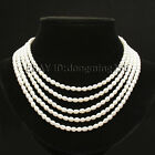 5 rows AA 5x6mm white oval akoya pearl necklace bracelets,bride best gift s503