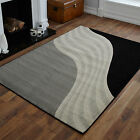NEW MEDIUM  LARGE BLACK GREY CREAM WAVE DESIGN CHEAP AND BEST QUALITY RUGS