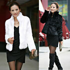 Brand New Faux Fur Coat Short Jacket Black/White Stand Collar Parks Women FO