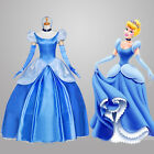 US SHIP! Adult Princess Cinderella  Costume Deluxed Stage Fancy Cosplay Dress