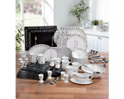 32 , 50 Piece Black White Square Round Stoneware Dinner Set Tea Service