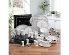 32 Piece Black White Square Round Stoneware Dinner Set Tea Service Family
