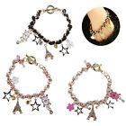 Sweet Star Flower Eiffel Tower Pattern Poker PU Leather Bracelet Women Fashion