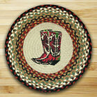 "Cowboy Boots 15.5"" Round Chair Pad & 2 Tie Ribbons Braided Jute"